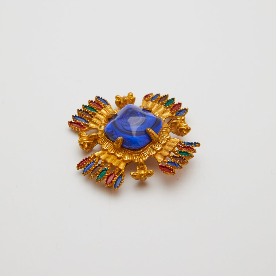 1973 Castlecliff Blue Stone Brooch Designed by Larry VRBA