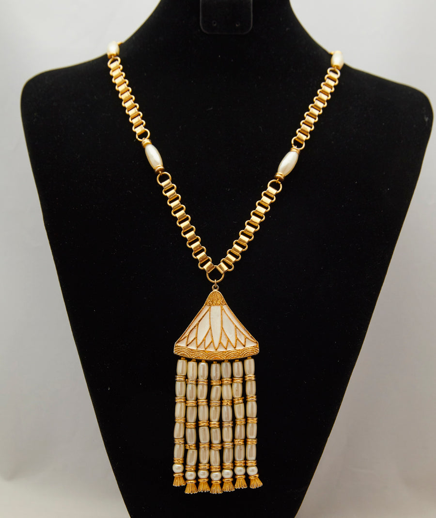 1960s Hattie Carnegie White Egyptian Revival Lotus Necklace