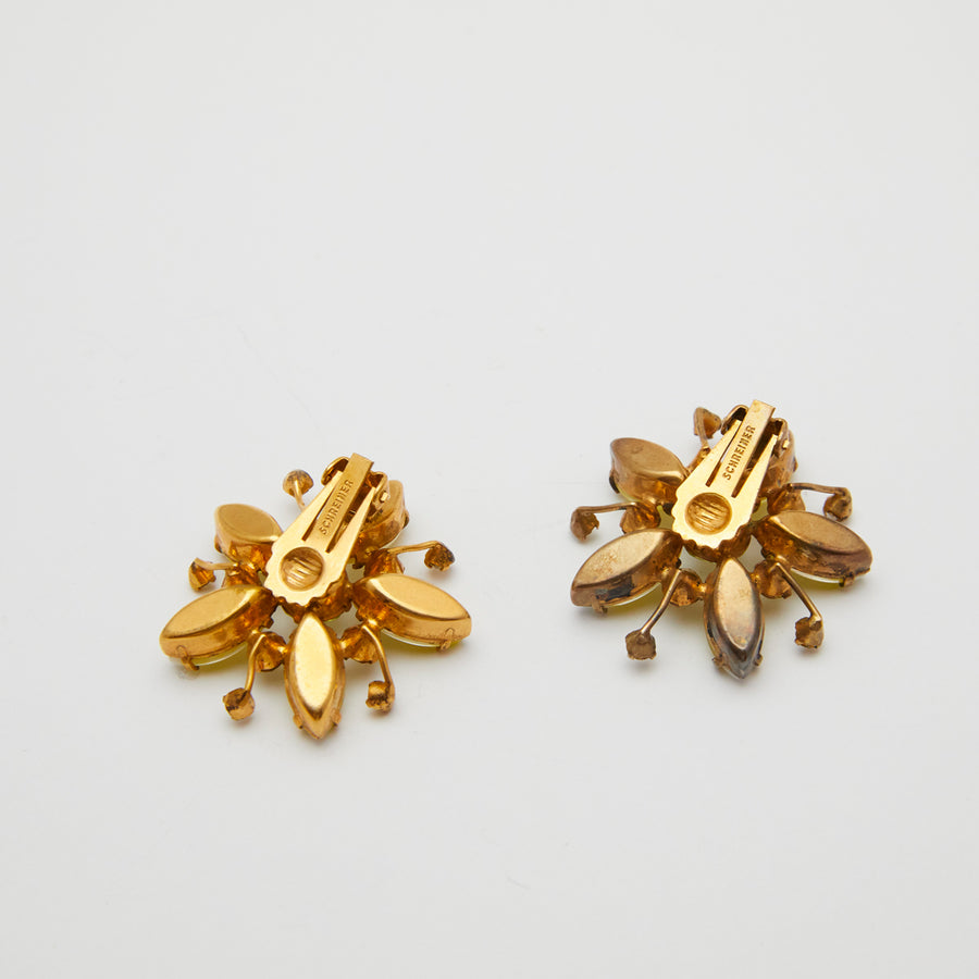 Schreiner 1960s Large Yellow Flower Earrings