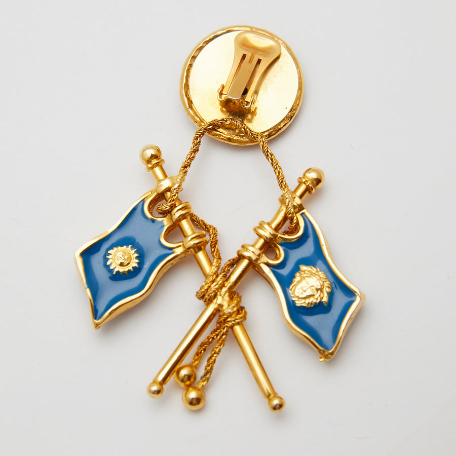 Single Versace Blue Enamel Flag Earrings 1990s
