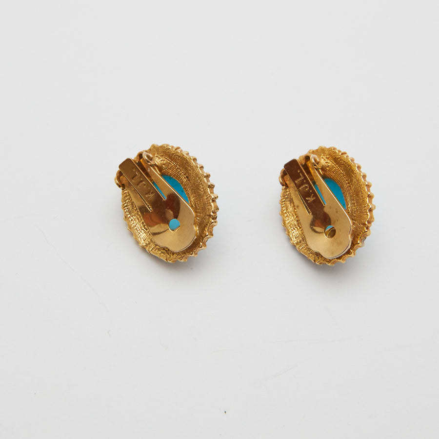 1960s Kenneth Jay Lane (K.J.L.) Turquoise and Pave Earrings
