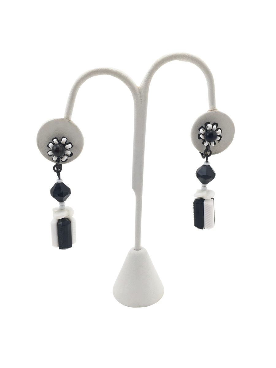 Miriam Haskell Black and White Glass Dangle Earrings