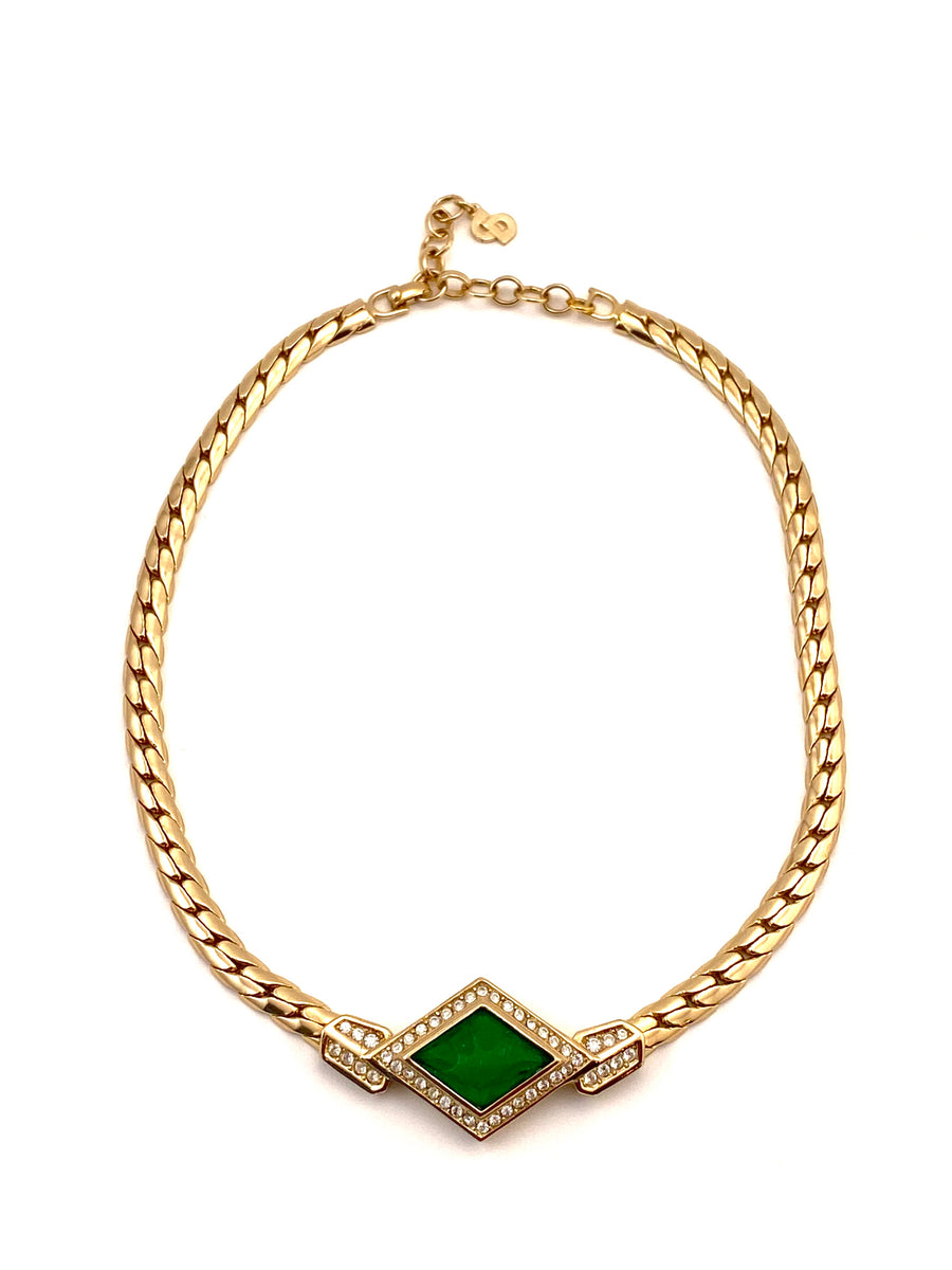 Vintage Christian Dior Green, Gold and Crystal Necklace 1980s