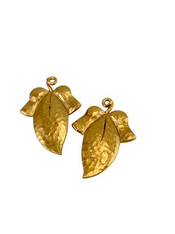 Yves Saint Laurent Hammered Lemon and Leaf Earrings
