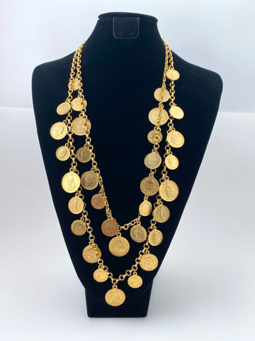 1970s Double Strand Swiss Franc Coin Necklace