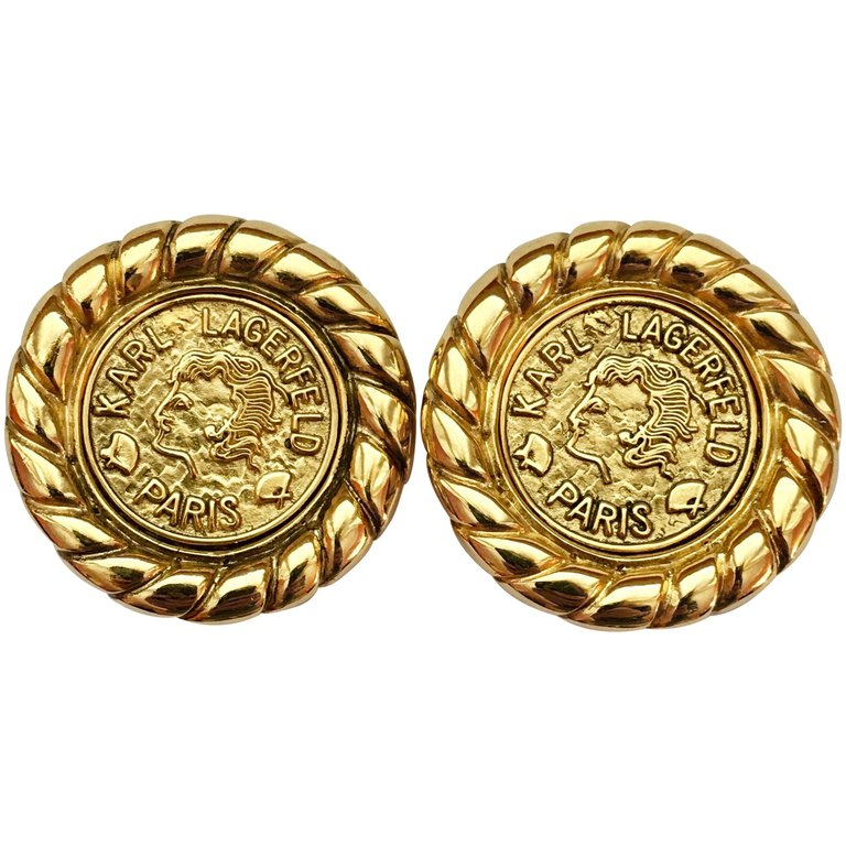 Karl Lagerfeld Goldtone Coin Earrings - 1990s