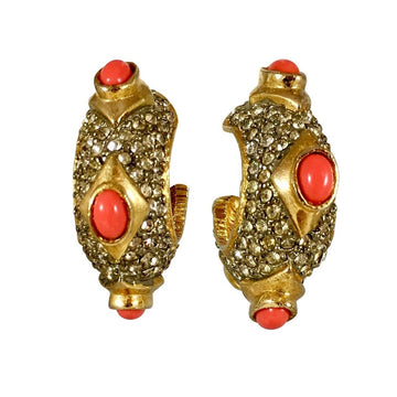 Kenneth Jay Lane K.J.L. Pave and Faux Coral Earrings - 1960s