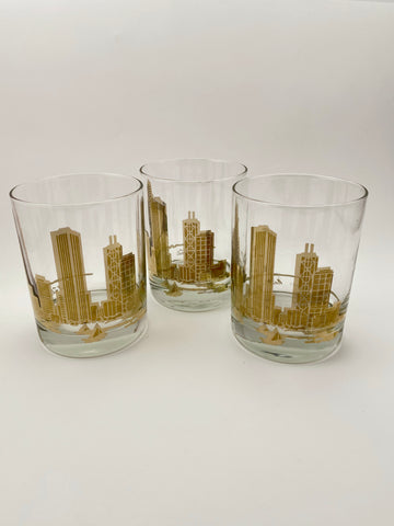 Vintage Marshall Field Chicago Skyline Glasses