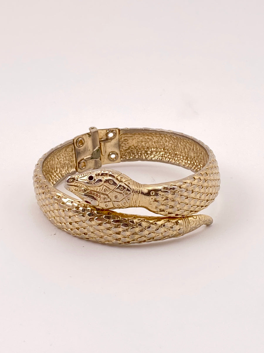 Goldtone Snake Clamper Bracelet with Red Glass Eyes