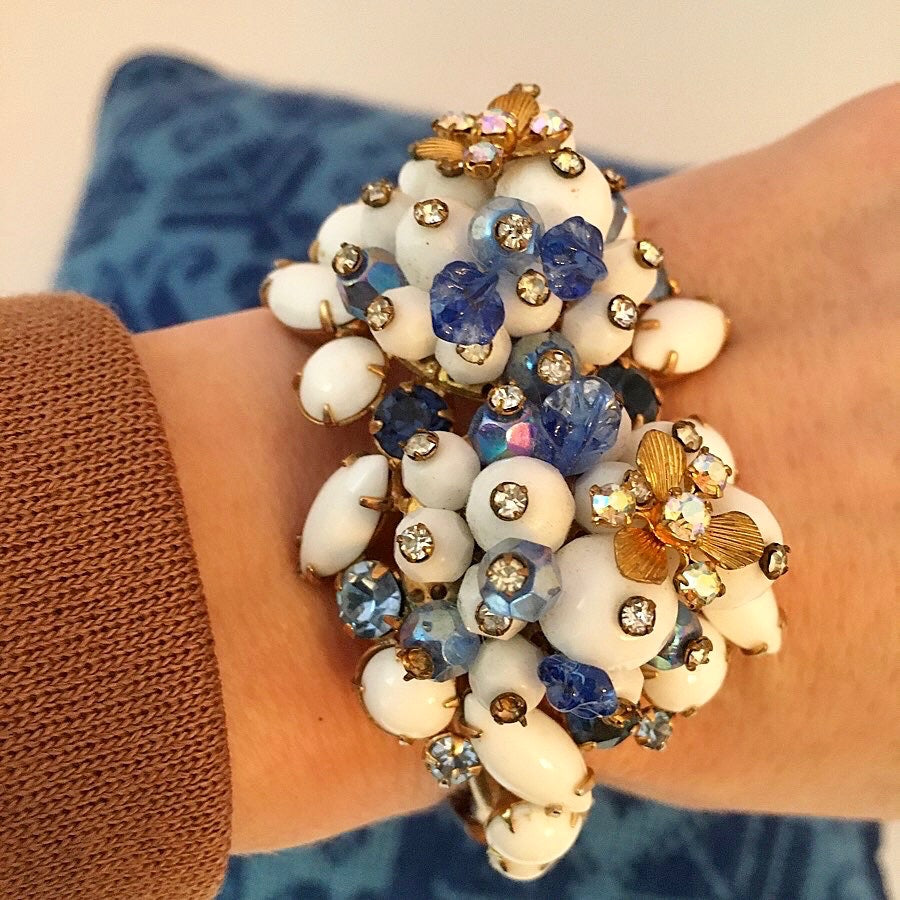 Alice Caviness White Glass, Blue Glass, Rhinestone and Aurora Borealis Bracelet