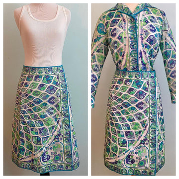 Vintage 1970s Pucci Blue and Green Cotton Blouse and Skirt Set