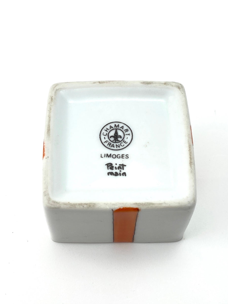 Limoges Trinket Box with Orange Ribbon