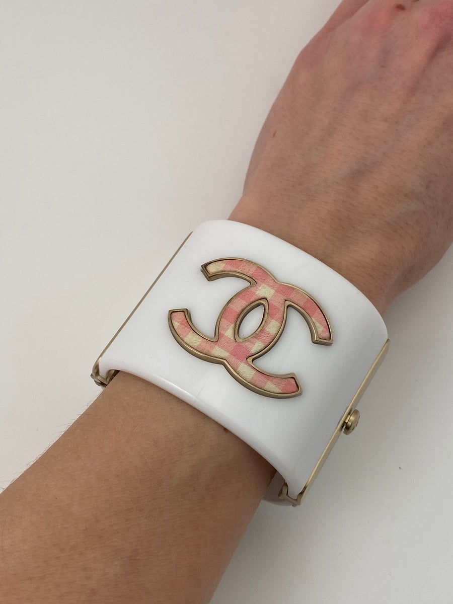 Chanel Cuff Bracelet with Pink Gingham Double C's