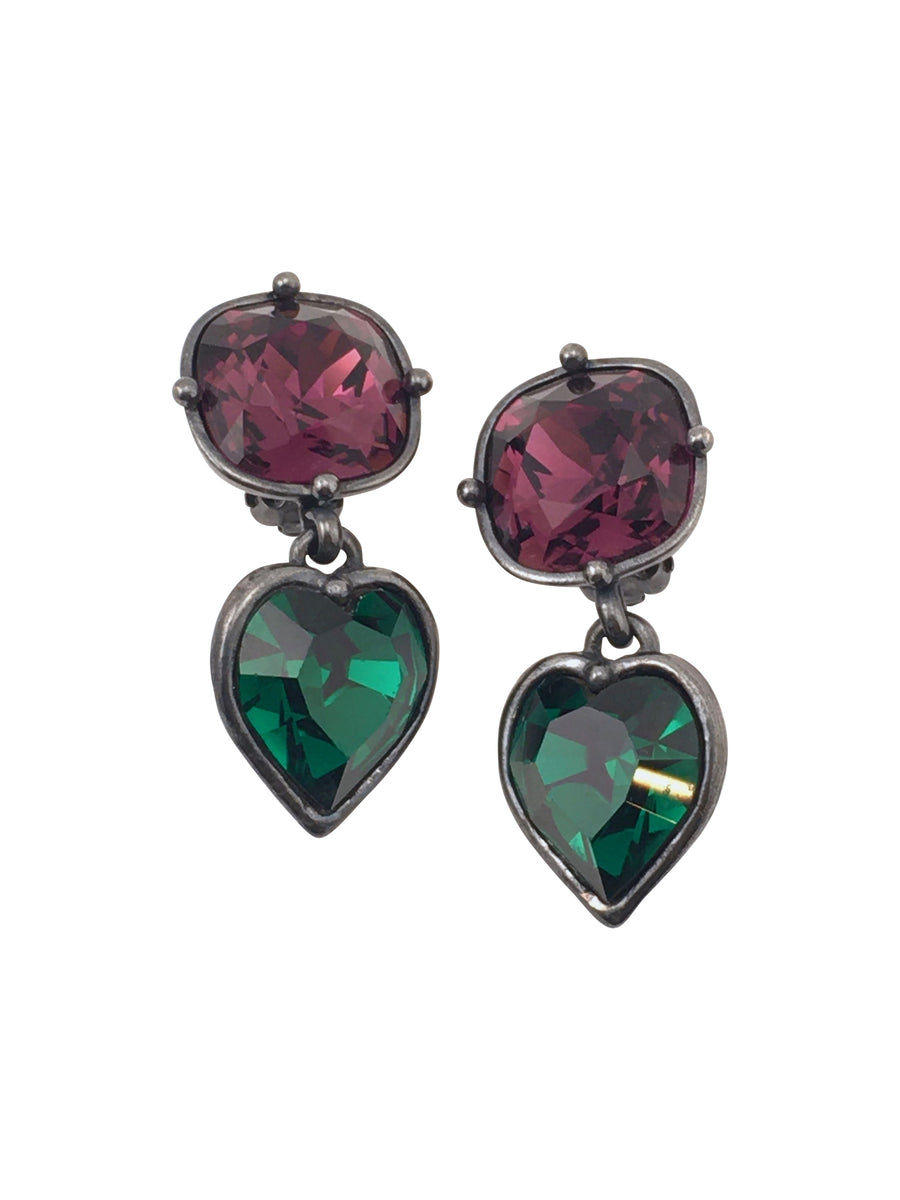 Yves Saint Laurent Rive Gauche Heart Dangle Earrings 1980s
