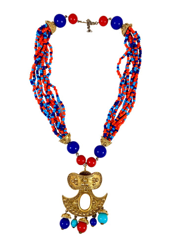 1970s Kenneth Jay Lane Red, White & Blue Tribal Necklace