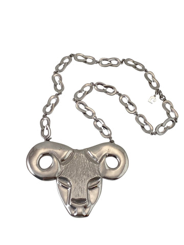 1970s Pierre Cardin Ram Aries Pendant Necklace