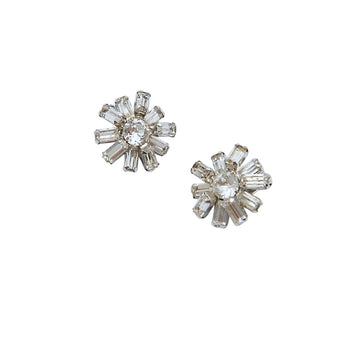 Weiss 1950s Clear Rhinestone Flower Earrings