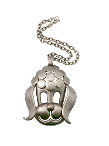 Huge Pierre Cardin Modernist Poodle Pendant Necklace 1960s