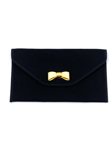 Vintage Ferragamo Black Pouch with Bow Closure