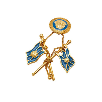 Single Versace Blue Enamel Flag Earring 1990s