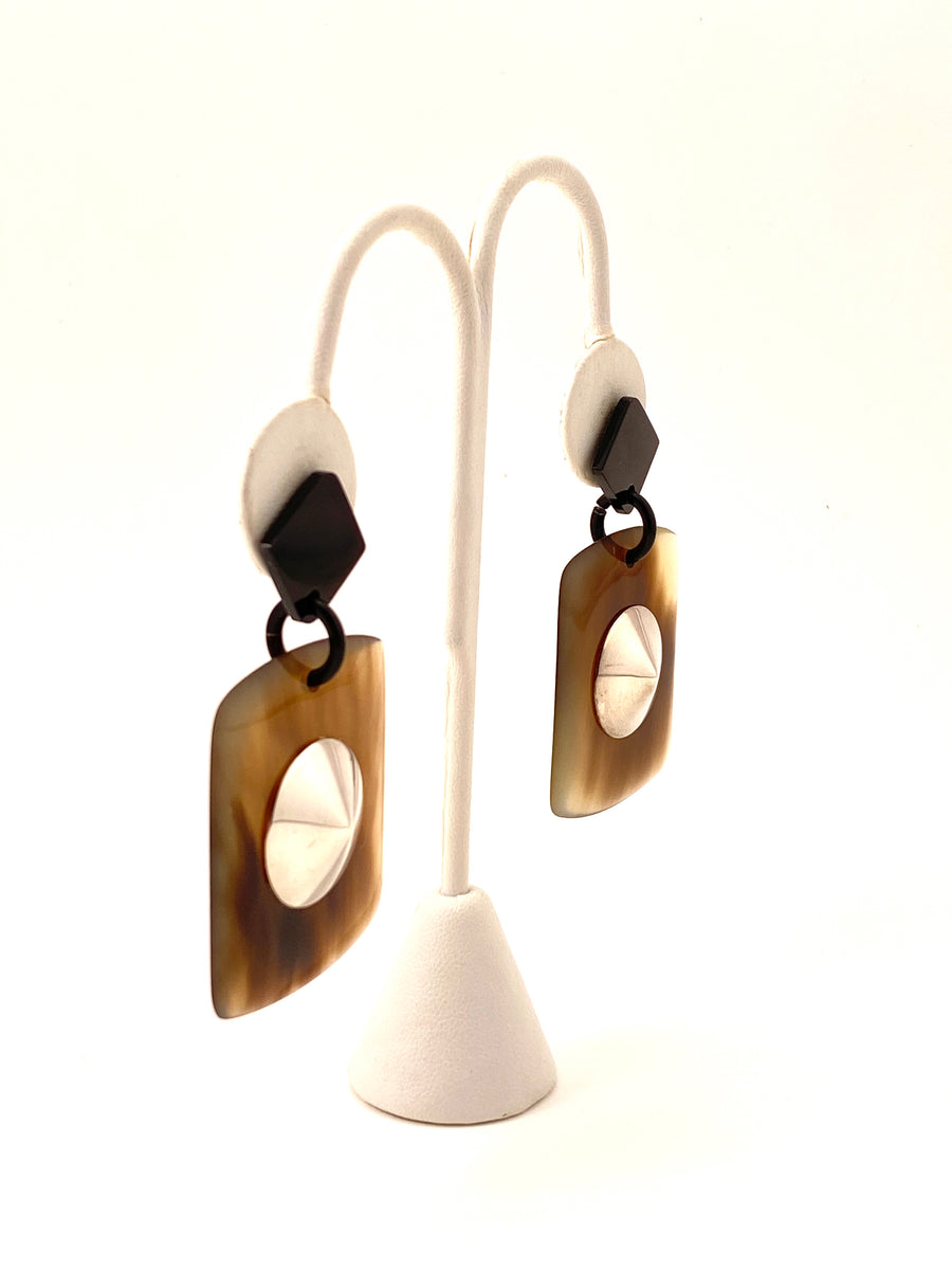 Horn and Silver Hermès Earrings