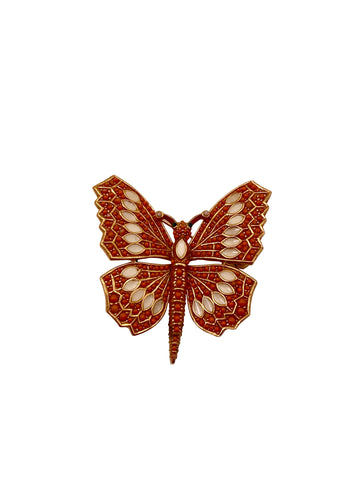 1970s Ciner Faux Coral Butterfly Brooch