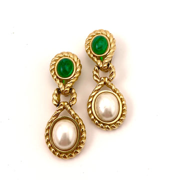 Vintage Ciner Green Stone and Pearl Drop Earrings