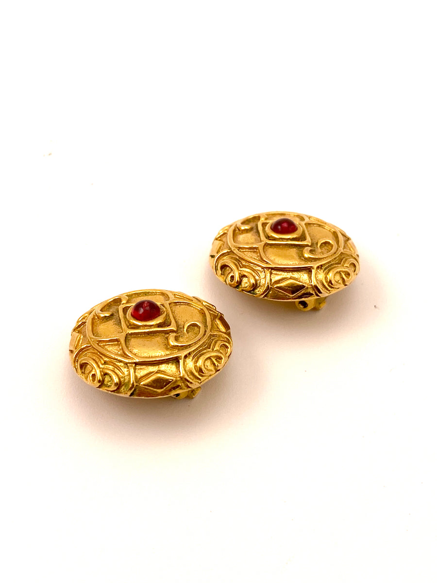 Chanel 1980s Textured Goldtone Red Gripoix Glass Earrings