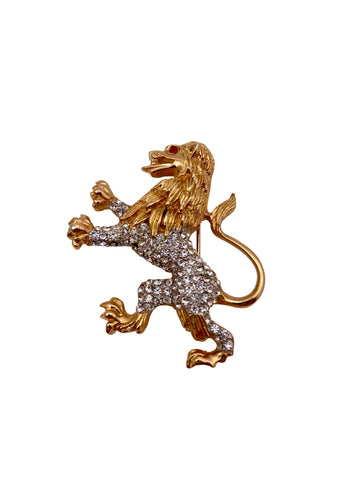 1960s Kenneth Jay Lane K.J.L. Standing Lion Brooch