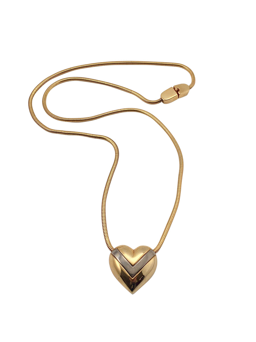 1970s Pierre Cardin Two-Toned Heart Necklace