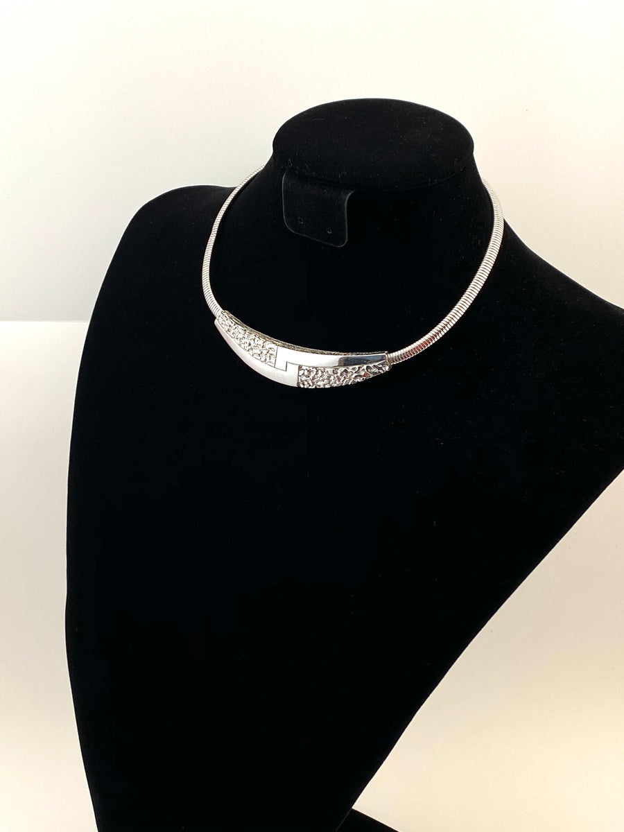 1970s Givenchy Silvertone Collar Necklace
