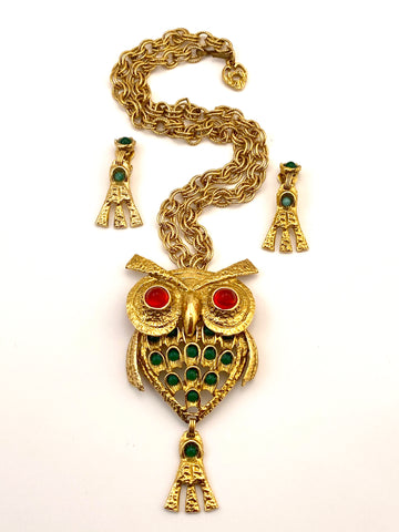 1970s Owl Pendant Necklace and Earrings Set