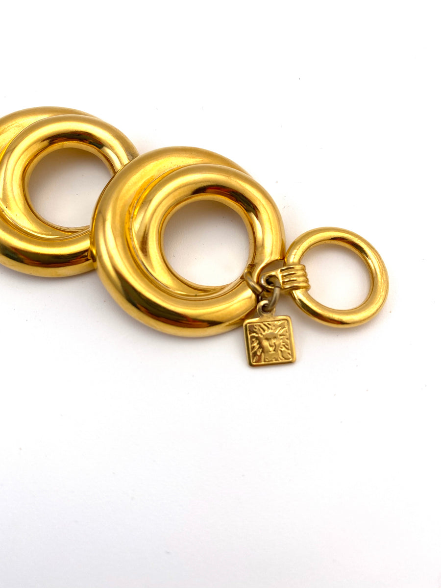 1980s Anne Klein Goldtone Circle Necklace