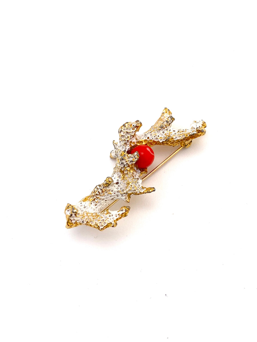 1950s Gold Tone White Enamel Brooch with Coral Colored Bead
