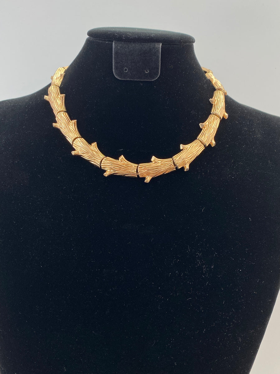 1950 Gold-tone Log Necklace by Trifari