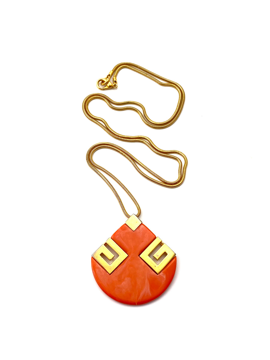 1970s Orange Givenchy Pendant Necklace with Two Logo G's