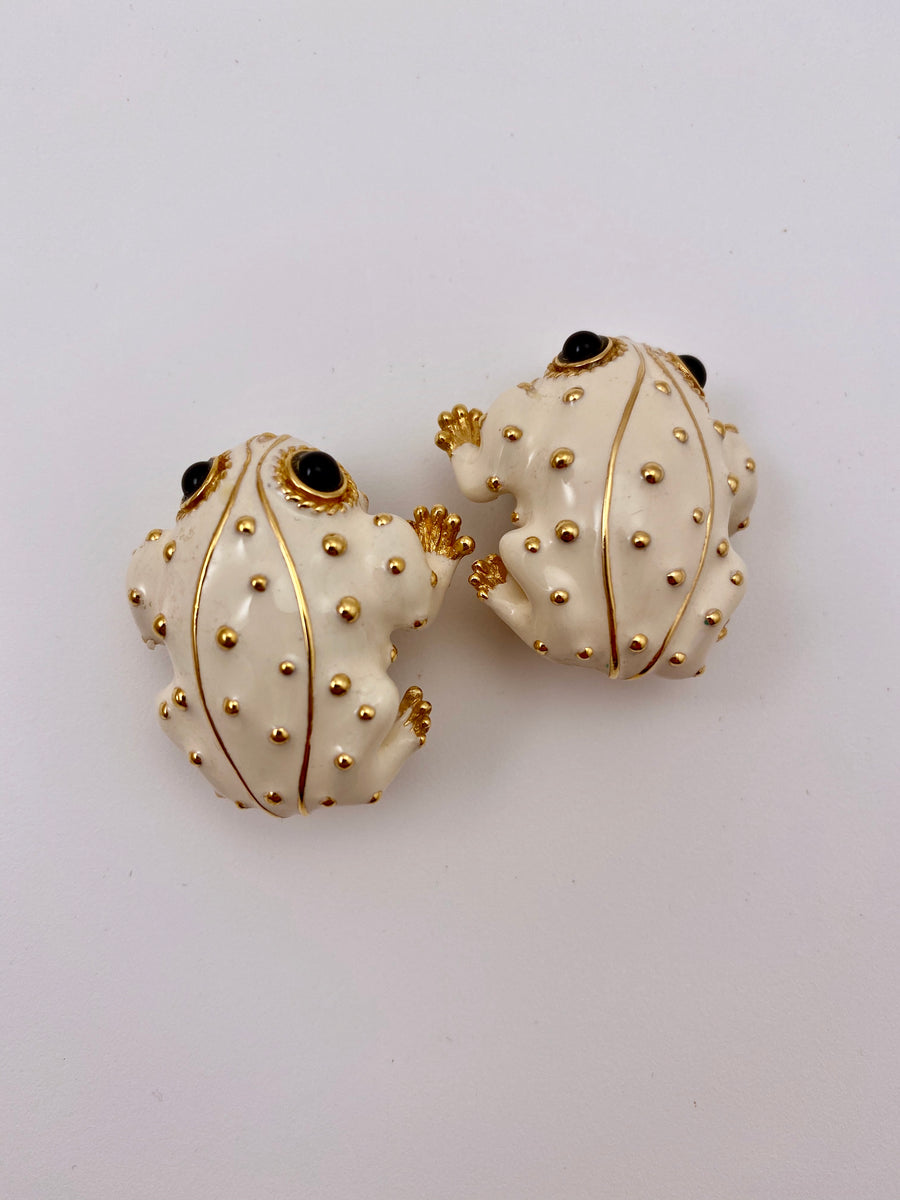 Vintage Ciner White Enamel Frog Earrings
