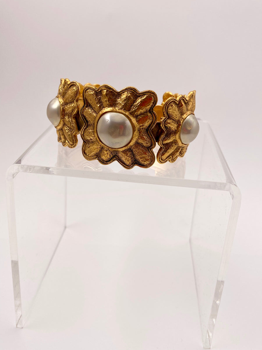 Chanel 1980's Faux Pearl and Flower Gold-Tone Cuff Bracelet