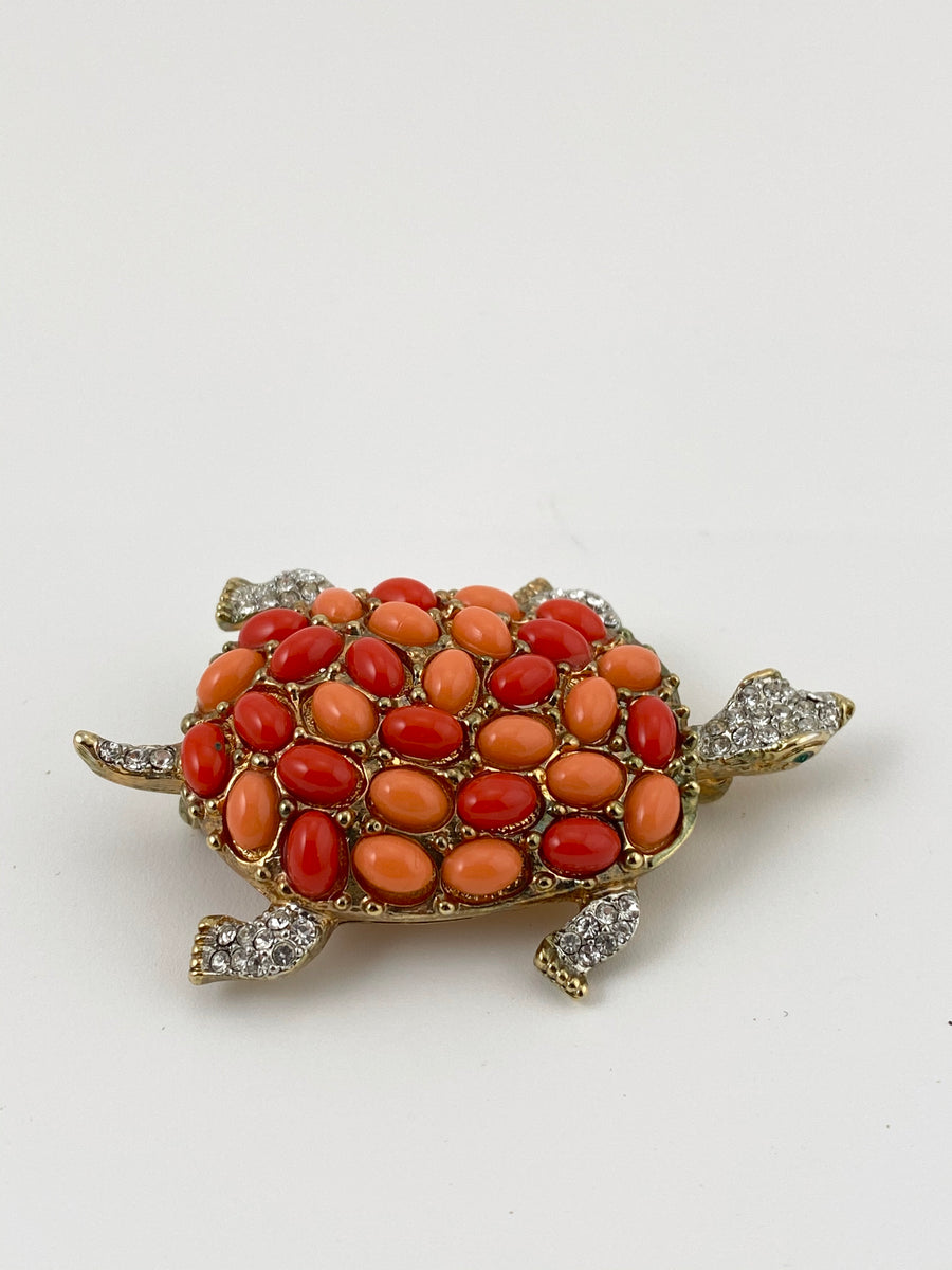 Kenneth Jay Lane Pave and Orange Stone Turtle Brooch