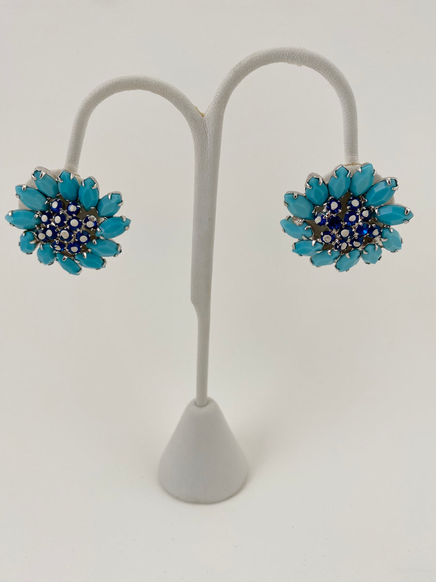 1960s Weiss Turquoise and Navy Flower Earrings