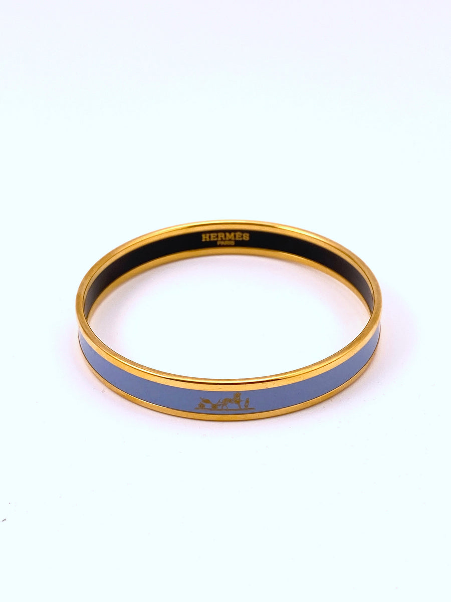 Hermes Narrow Enamel Bangle Light Blue with Gold Caleche