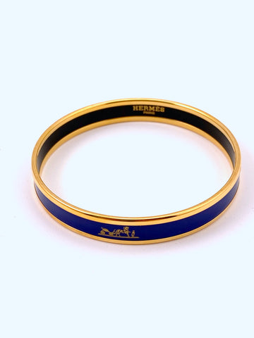 Hermes Narrow Enamel Bangle Blue with Gold Caleche