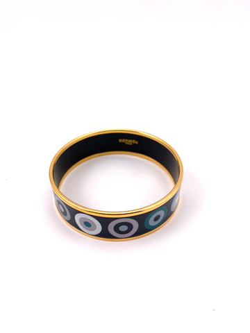 Hermes Blue Dot Enamel Bangle