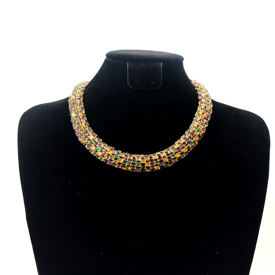 St John 1980s Pave Choker Necklace and Earrings Set