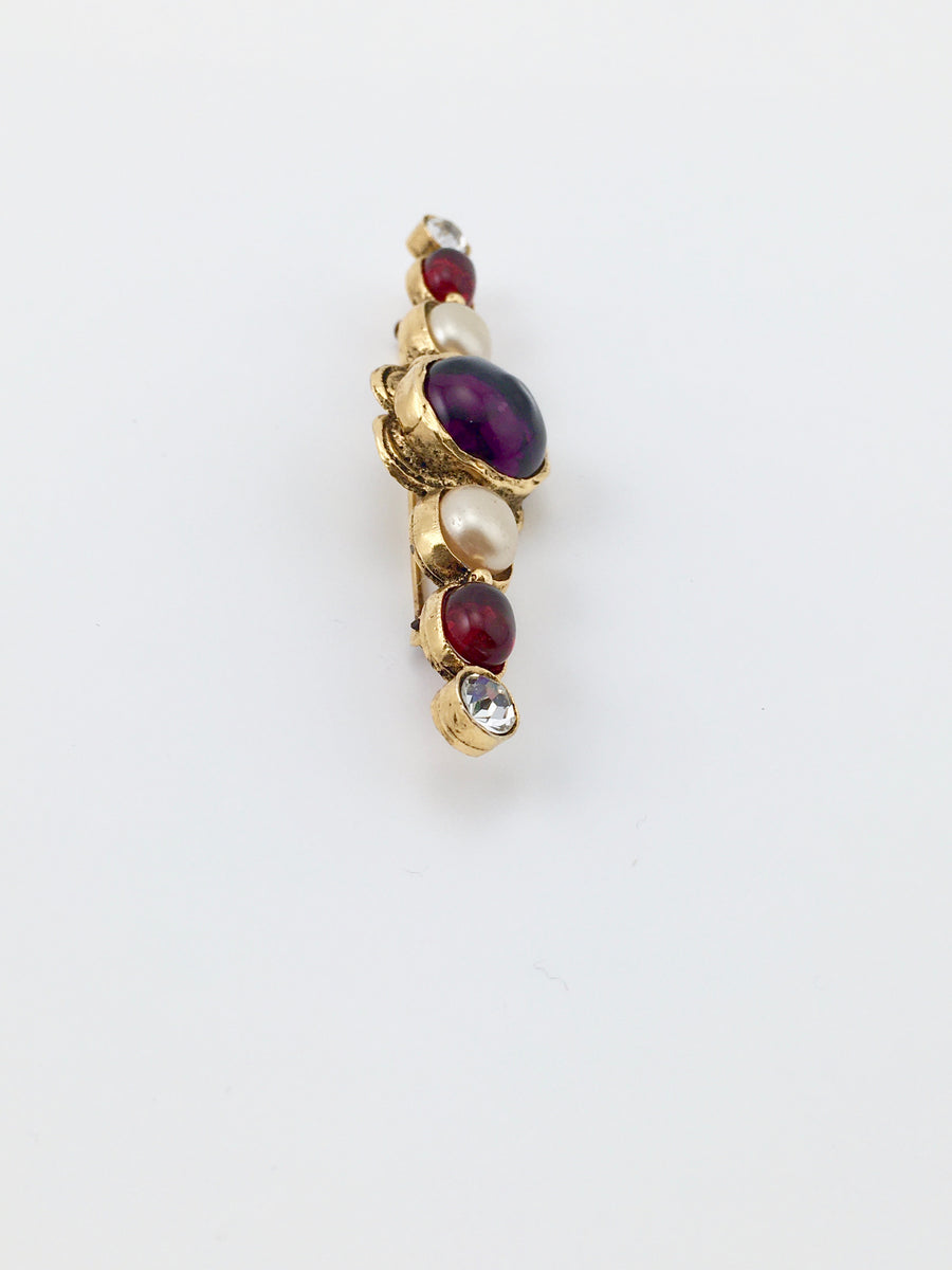 1980s Chanel Brooch with Gripoix Glass and Faux Pearls