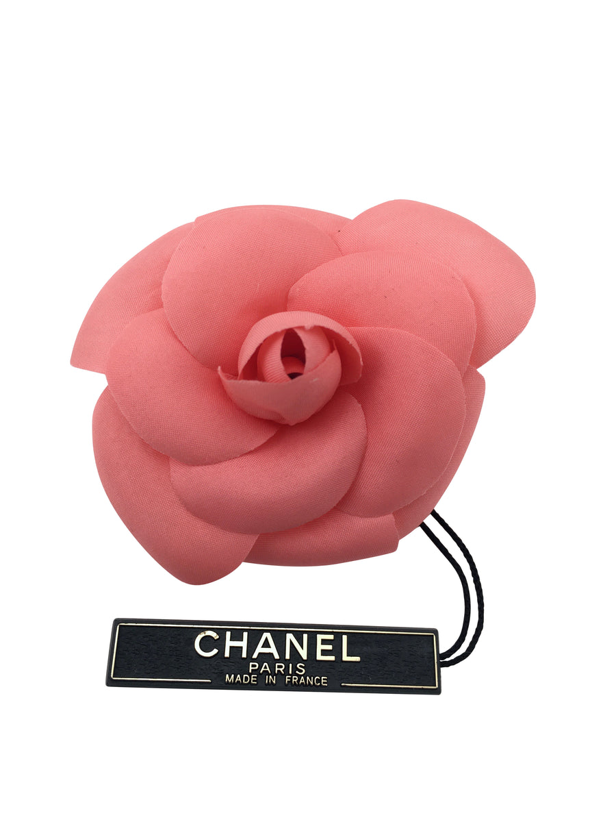 Chanel Pink Camellia Brooch with Original Tags and Box