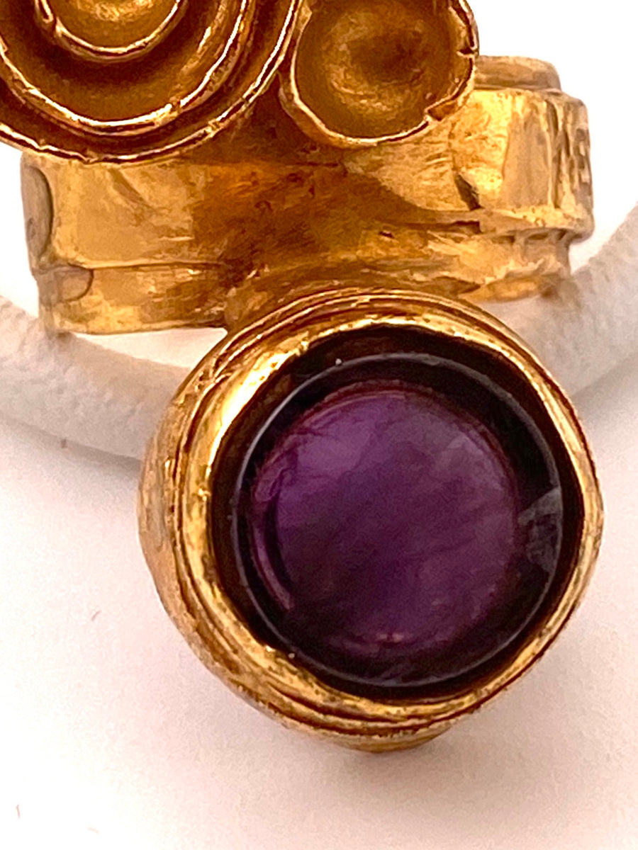 Goldtone Vintage YSL Ring with Purple Stone