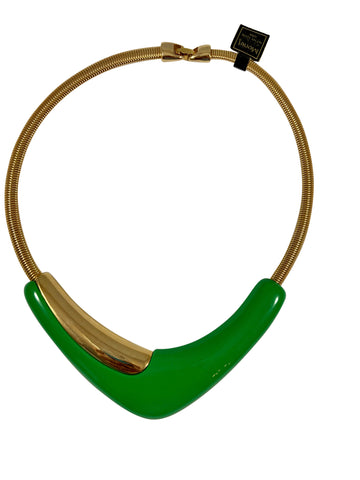 1970s Monet Green Modernist Necklace with Original tags