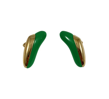 1970s Monet Green Modernist Earrings