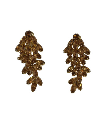 1960s Weiss Four Tiered Crystal Brown Earrings